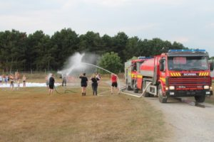 The fire trucks come @ Fornæs Camping